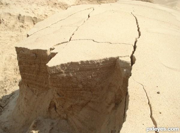 cracks on sand