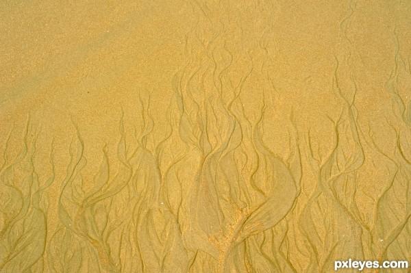 flame on sand...