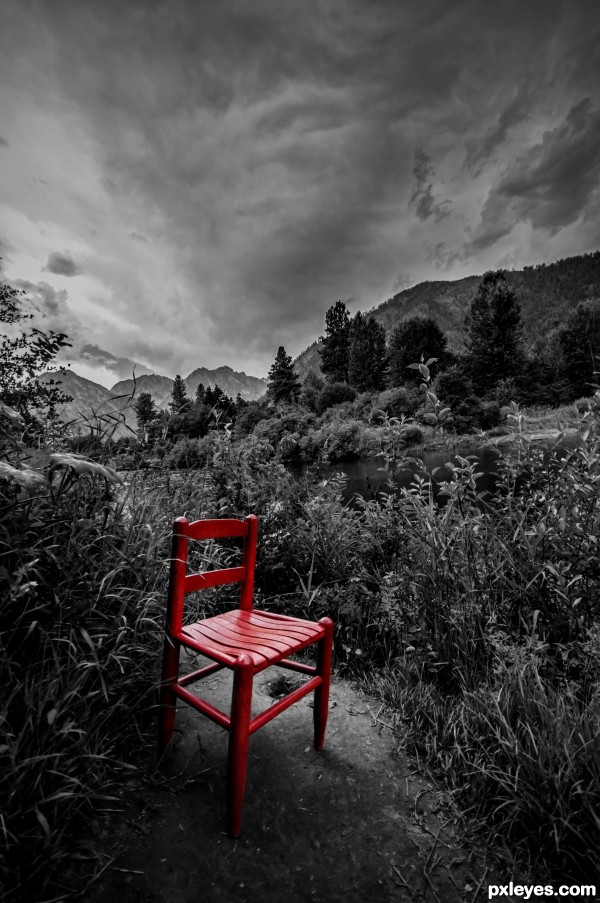 Red Chair by the River