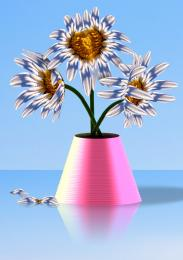 Pink Vase with Daisies