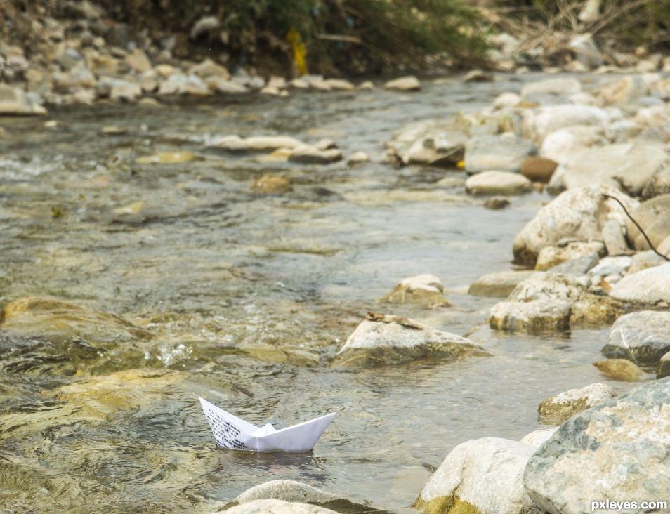 Paper boat. Escape to the open sea