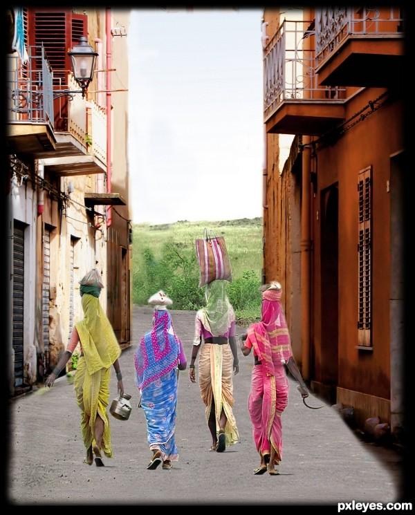 walking back to India