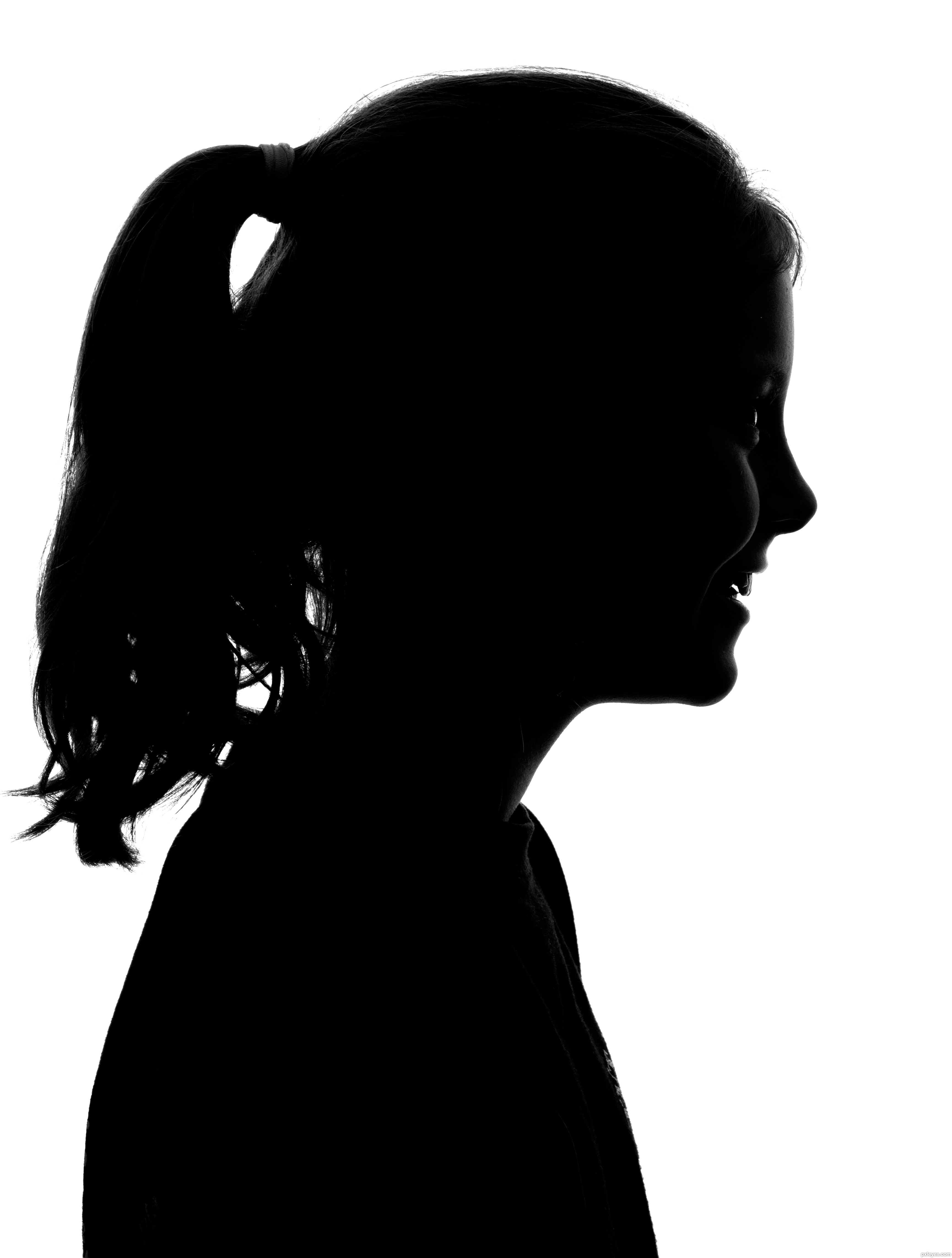 Young girl in dress silhouette