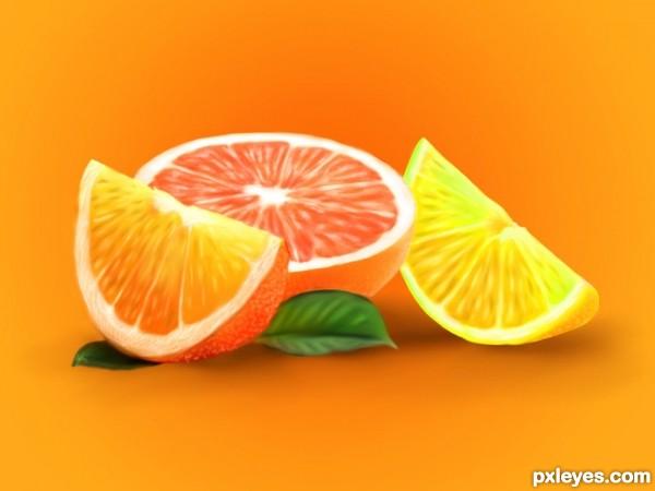 lime,orange and grape fruits