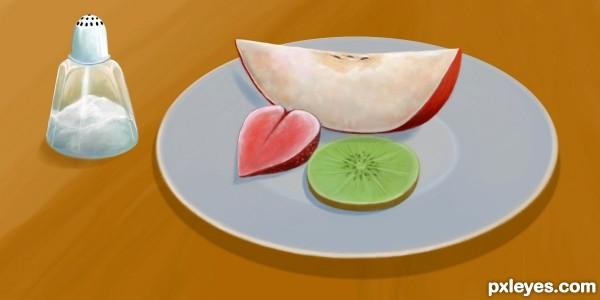 strawberry, kiwi, apple .