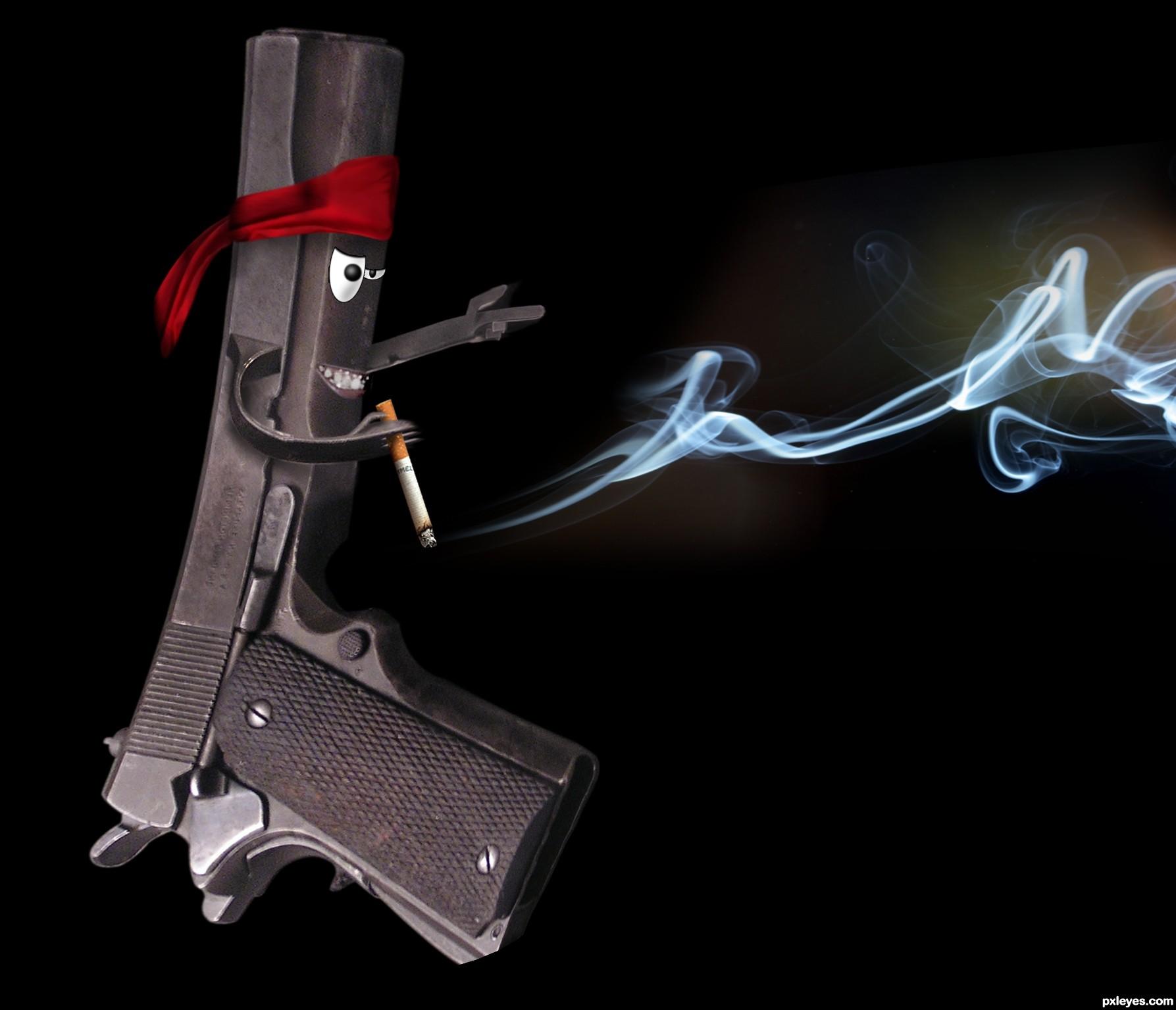 Фото пистолет сигарета 3