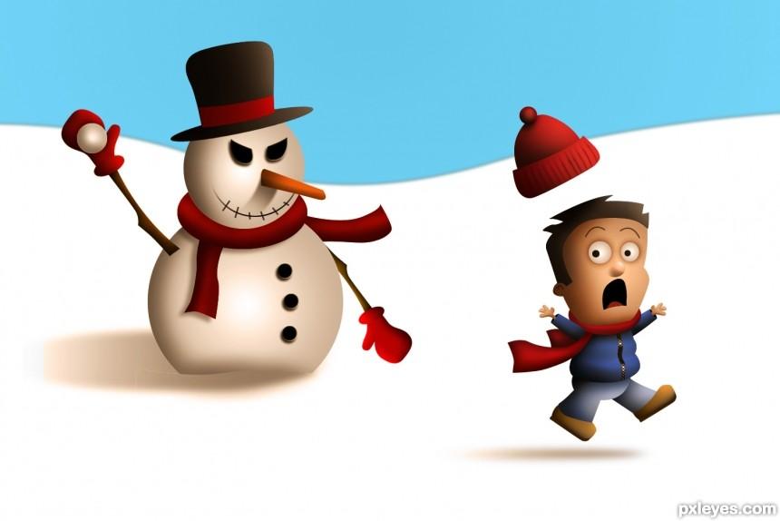 Mean Snowman photoshop picture)