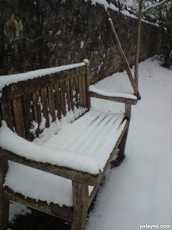 cold snowy bench