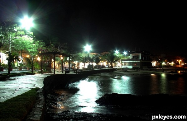 Edge of the sea by night
