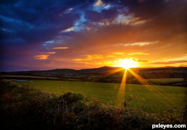 Sunset over Pasturelands