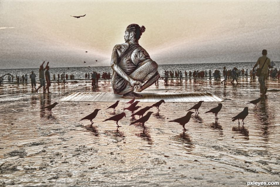 Yoga Beach Statue
