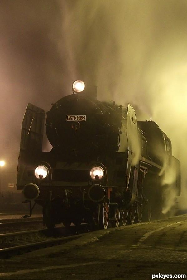 Steam engine, winter 6AM