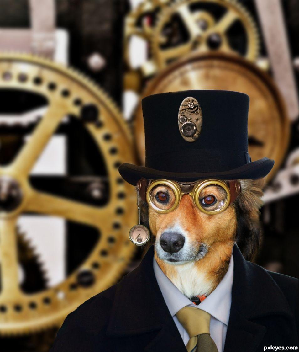 Steampunk Millionaire Dog