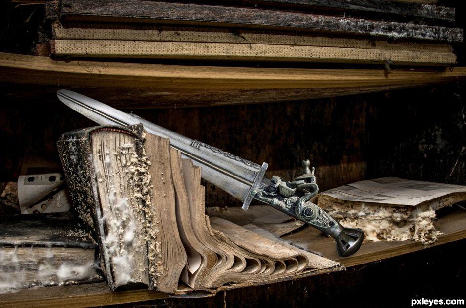 Steampunk Knife on a Shelf