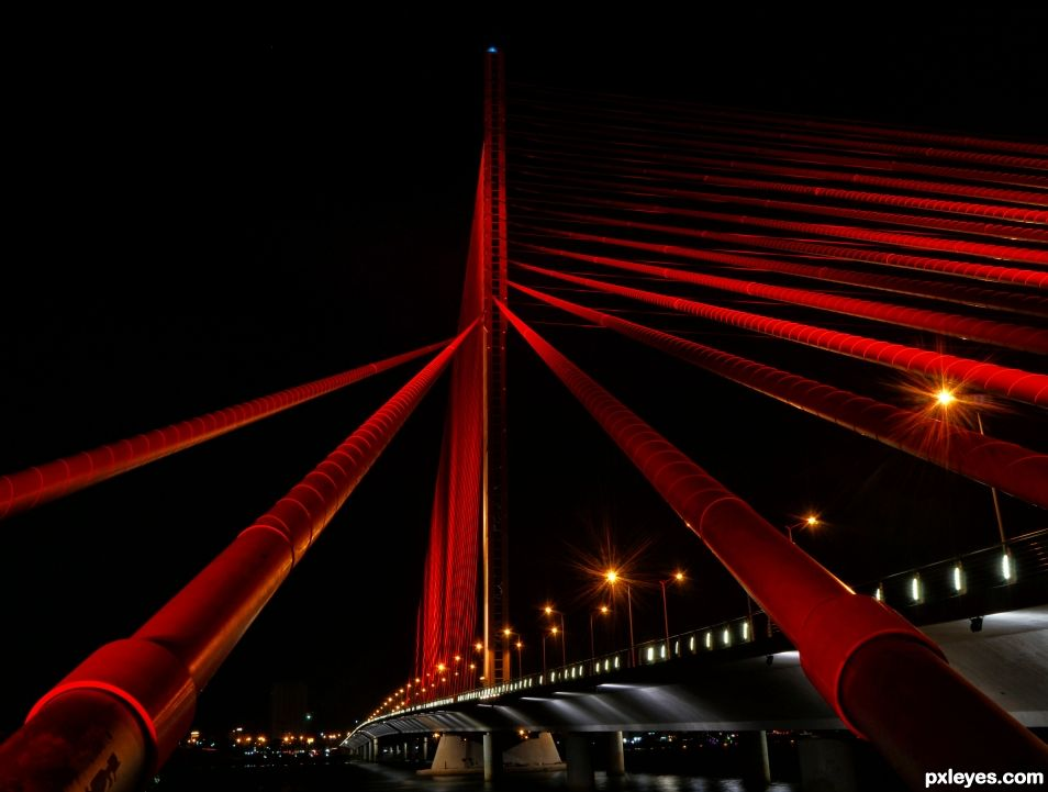 Street Lights on Red Bridge
