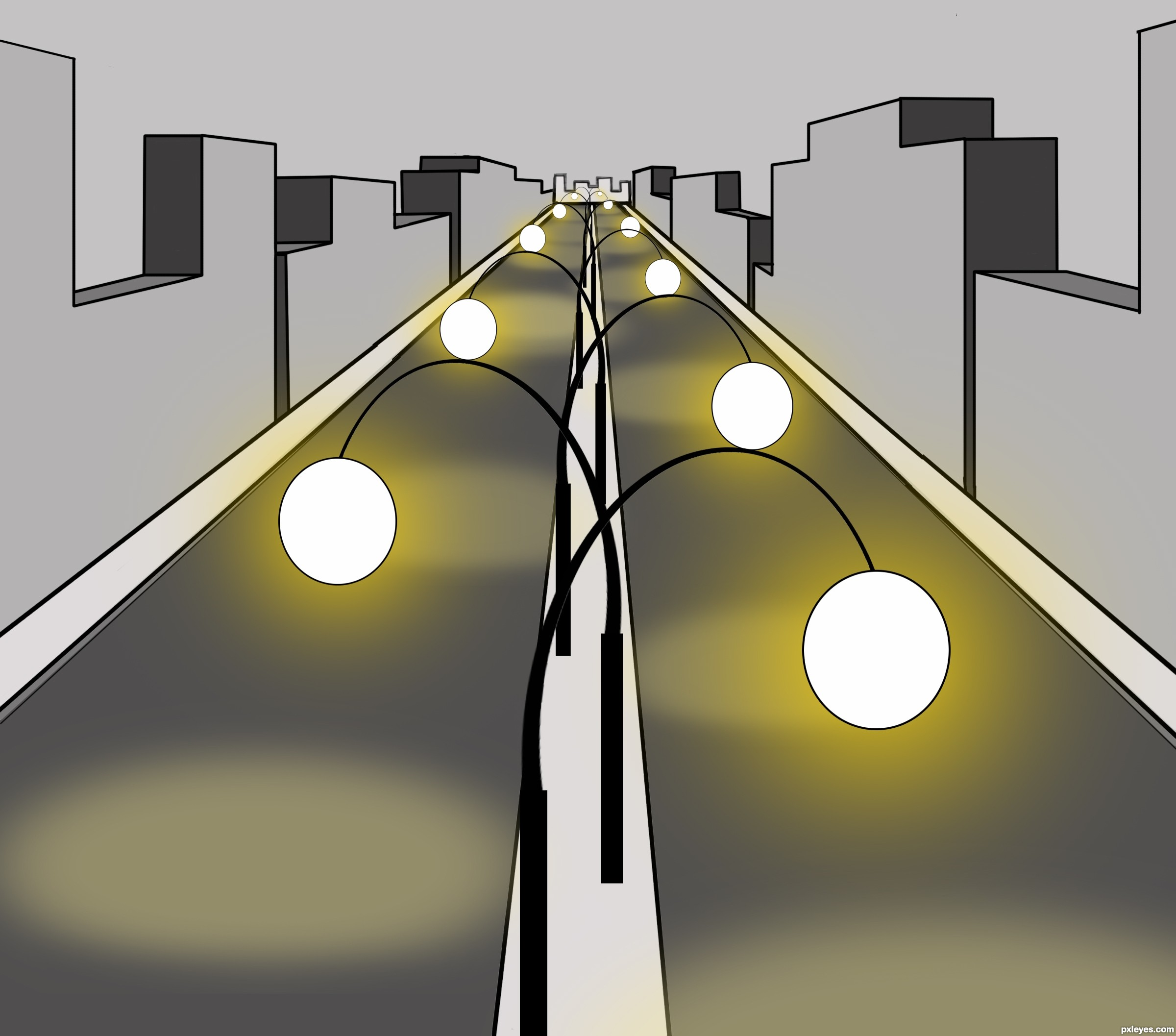 Street Lights picture, by artbybambi for: street lights drawing ... for Street Lamp Drawing  70ref