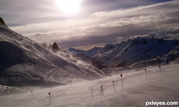 Stormy Mountain sun