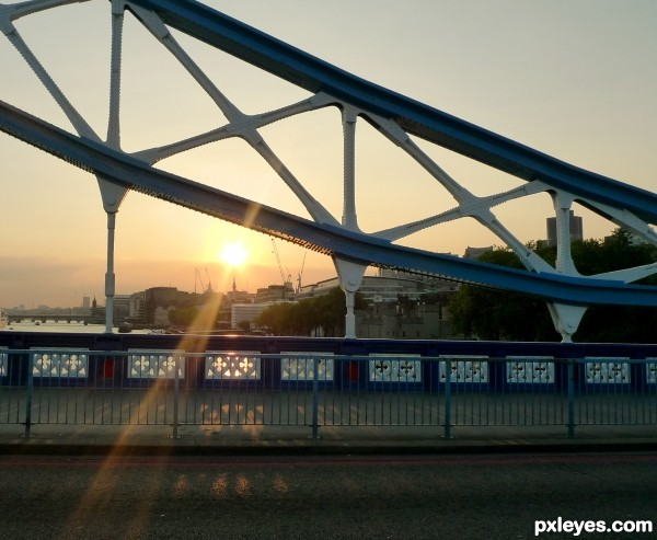 Sunset through London Bridge