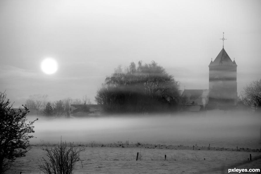 Snowy and foggy