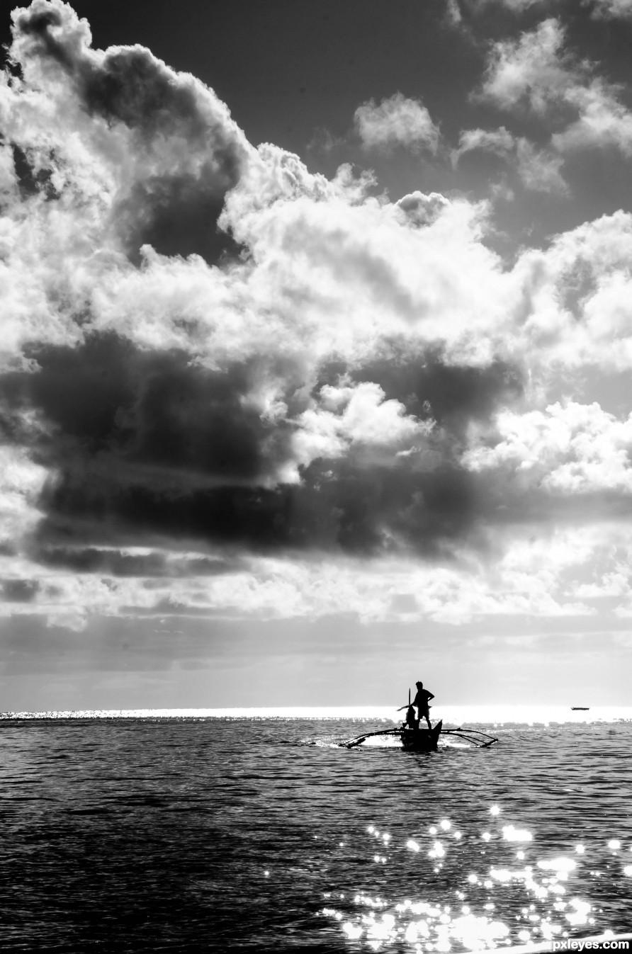 fisherman way back home at sunrise...
