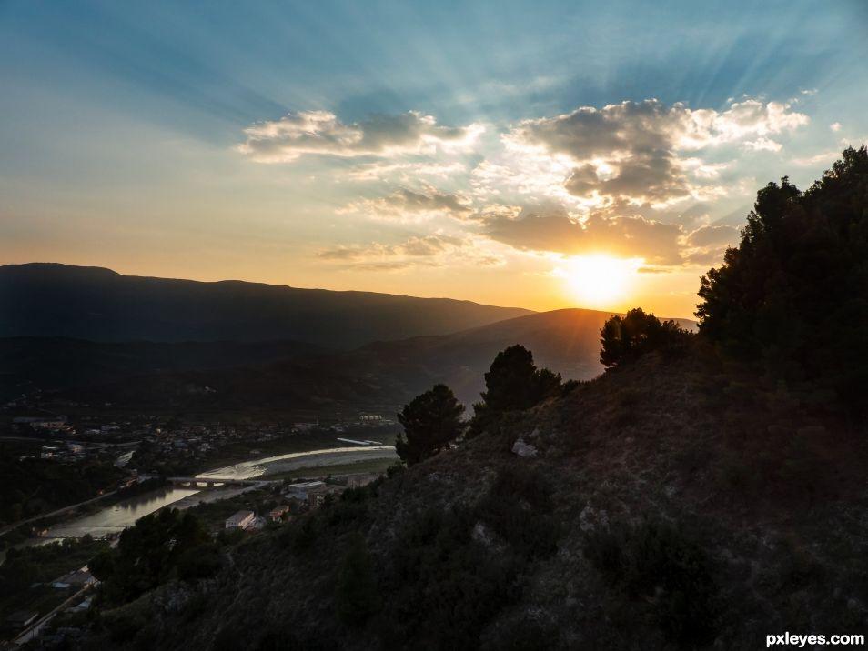 Sunset over Berat