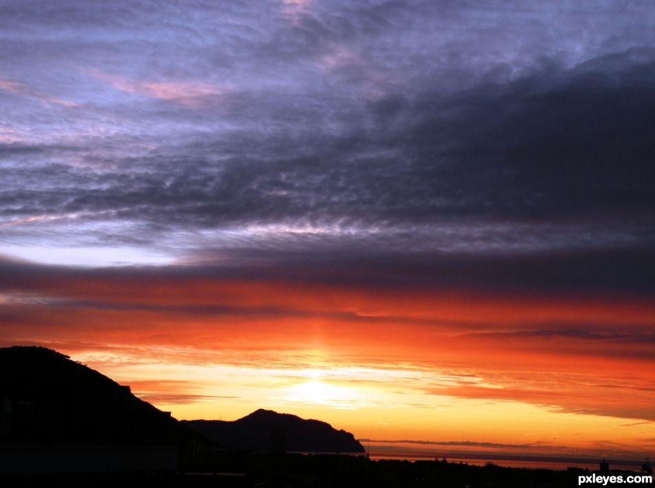 A  colorful sunrise