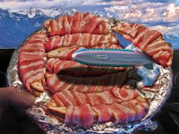 Bacon Wrapped Bread with a Blimp