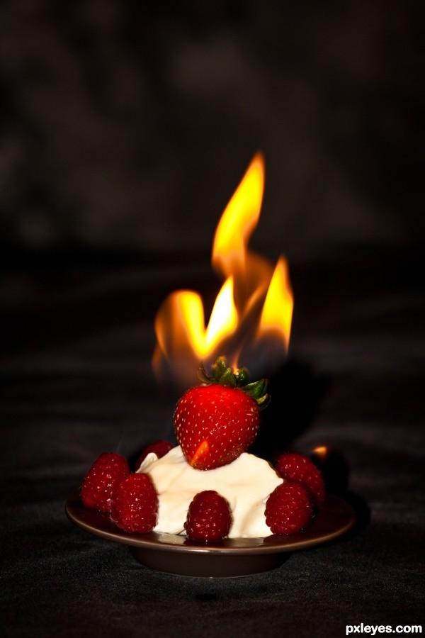 Ice Cream w/ Berry Flambé