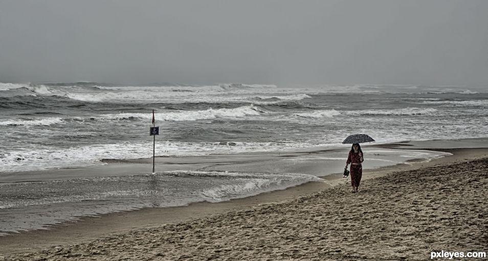 Beach in Rain