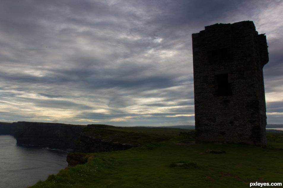 Moher Tower ruins on Hags Head, Liscannor (Ireland)