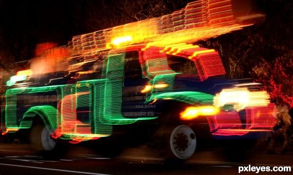 Tree Service Truck After Dark