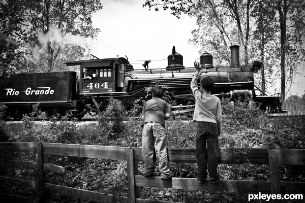 The Huckleberry Railroad photoshop picture)