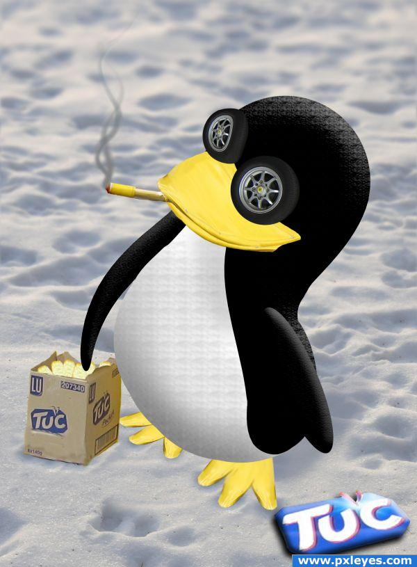 Tuc ads with smoking penguin