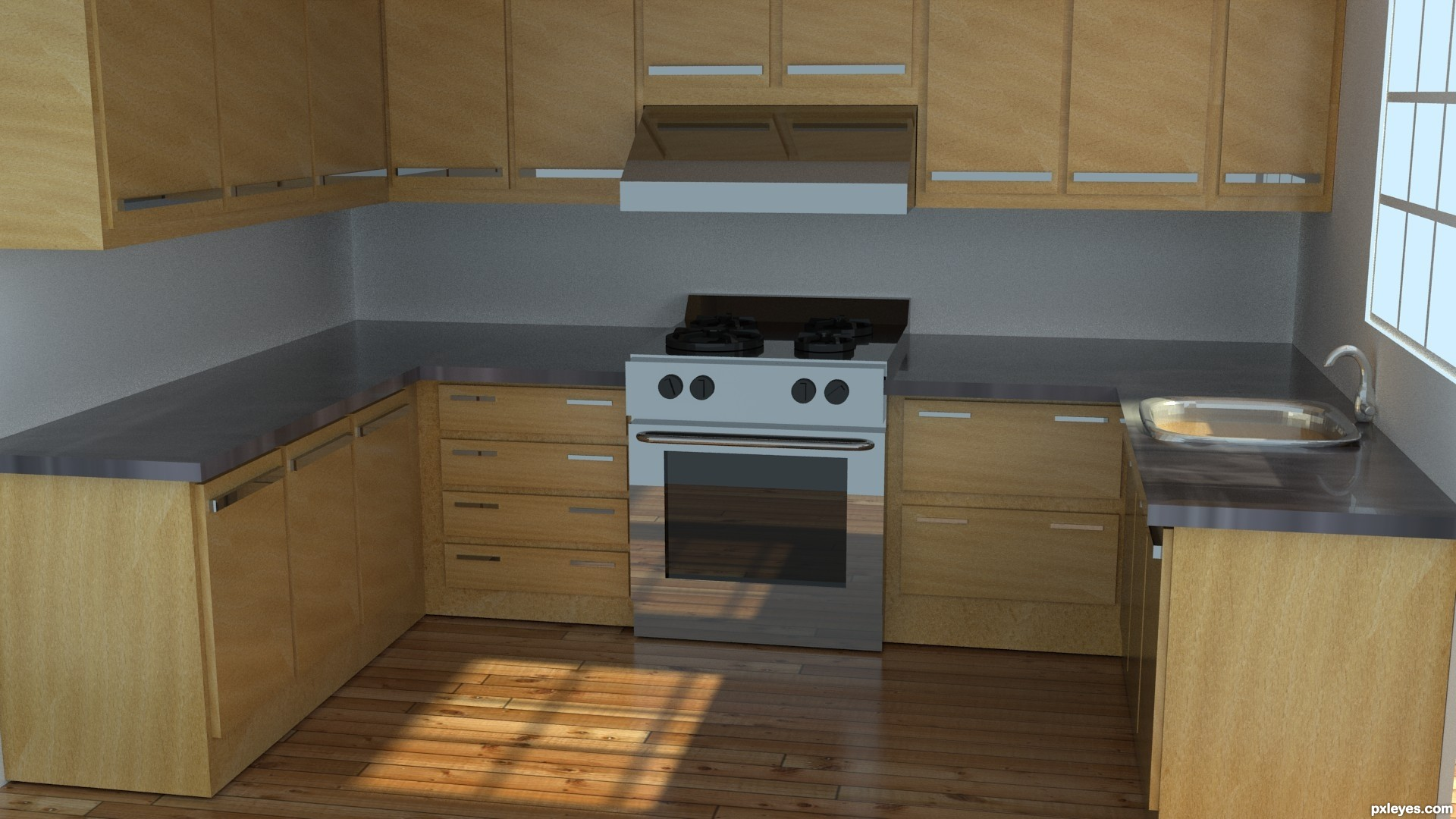 Kitchen picture by maozbd for tutorial 3d 3d contest for Kitchen set 3ds max