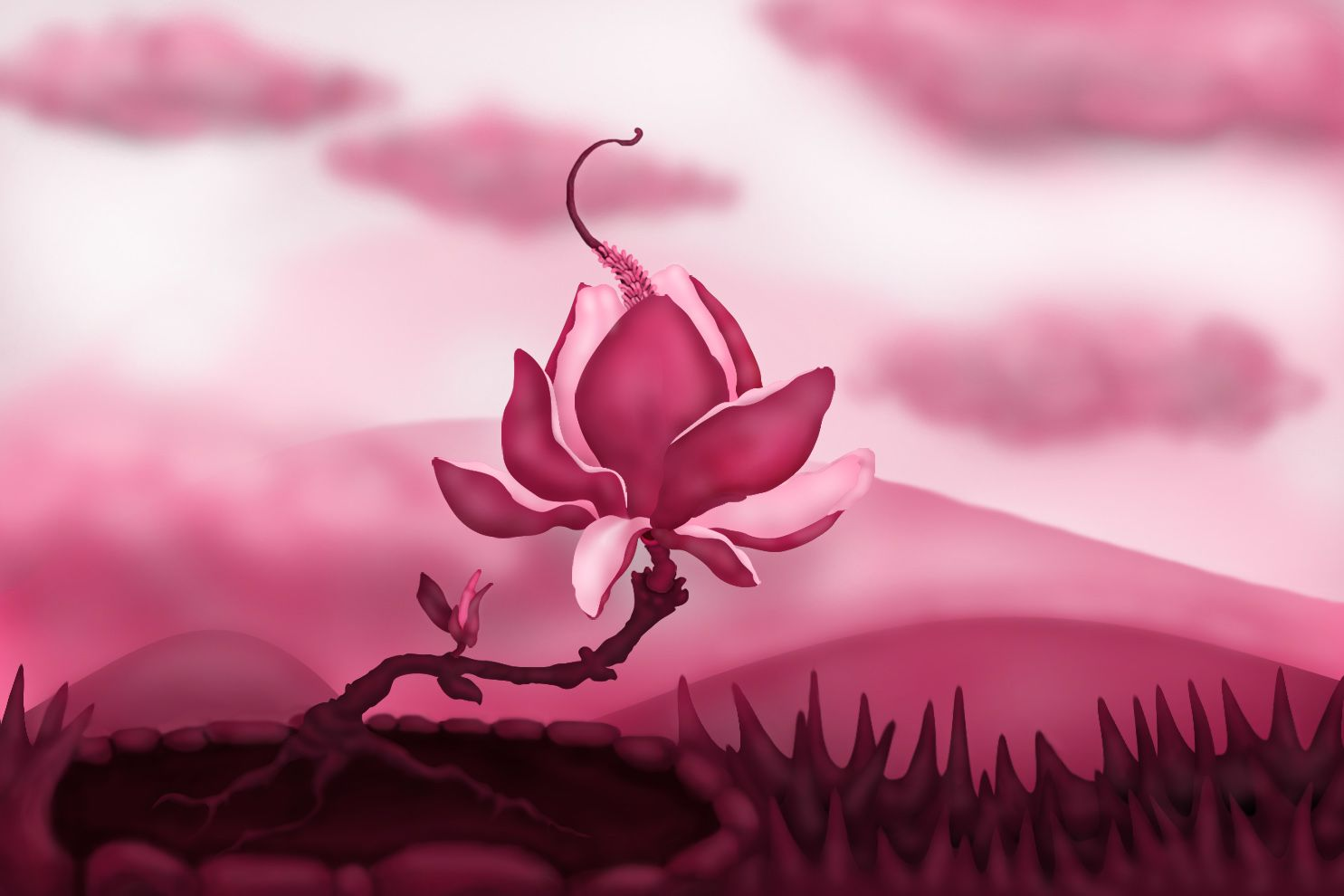 magnolia tree picture by ImmerVerloren for two colors drawing