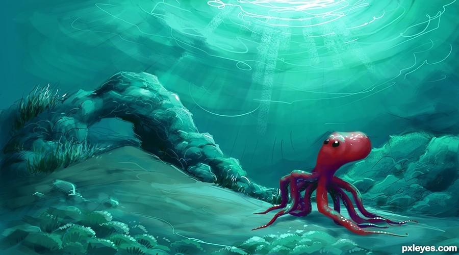 lonely octopus - created by scorpyUnderwater Octopus