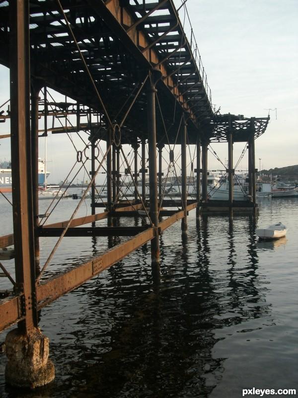 Abandonded shipyard bridge