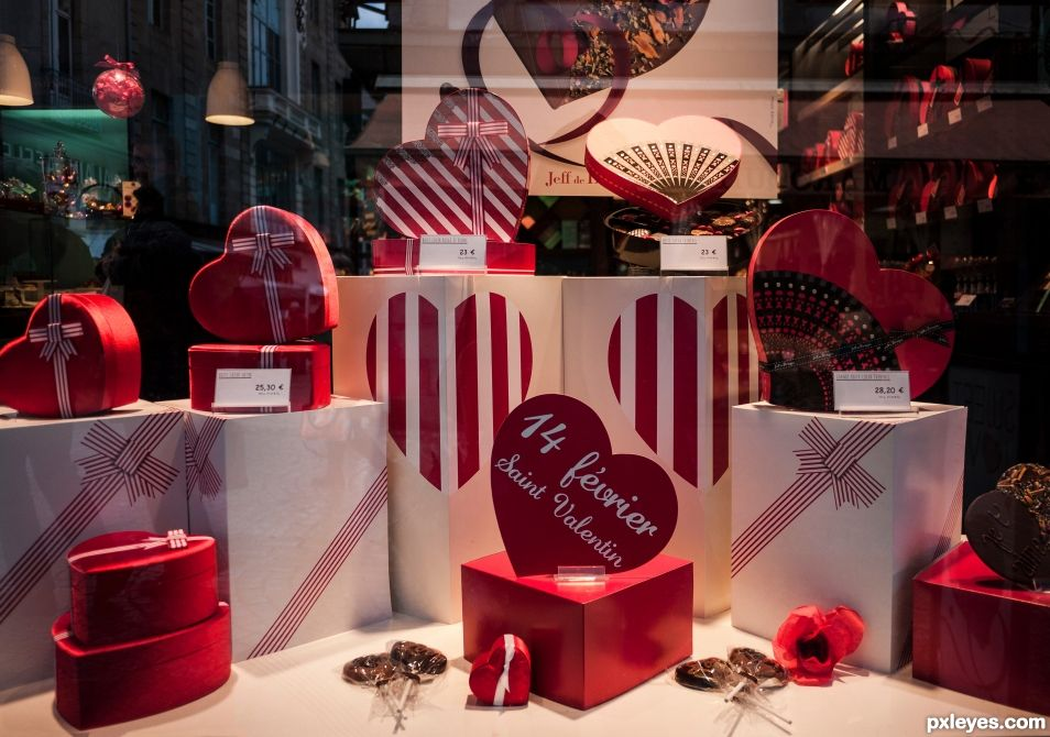 A window of chocolate hearts