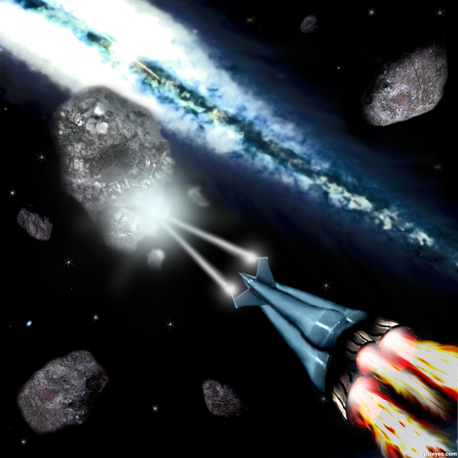 shooting asteroids from earth view - photo #1