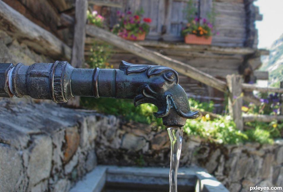Mountain spring water