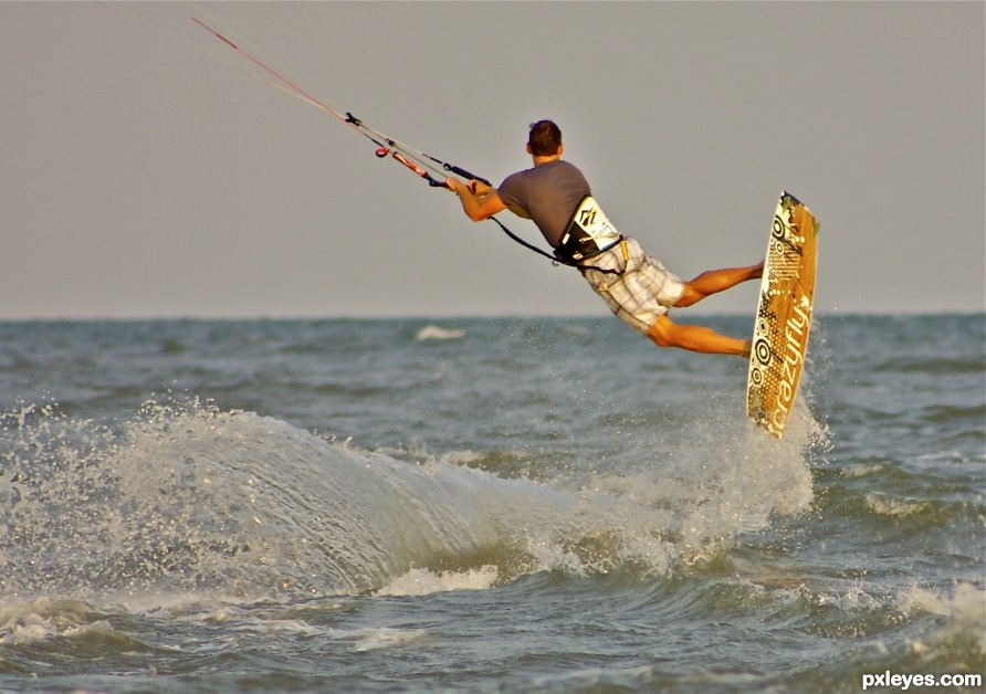 Getting air with Kite surfing