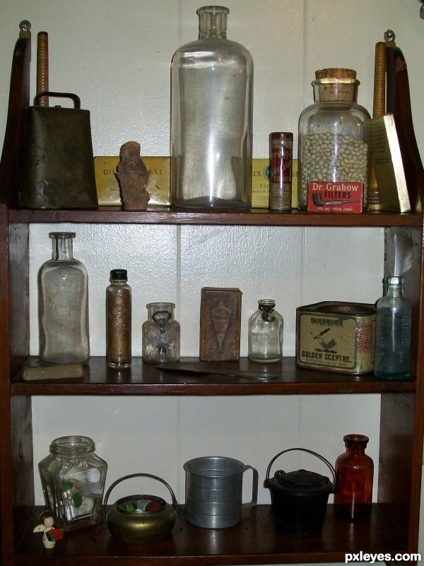 Shelf of old