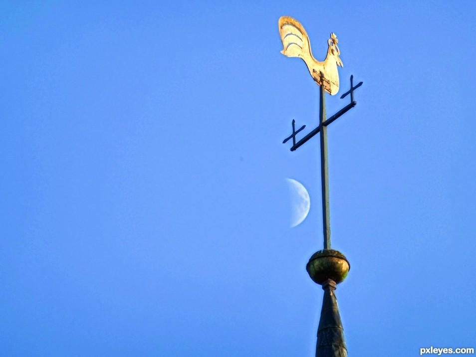 Half Moon with Weather Vane