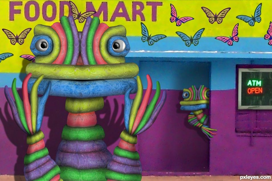 Chalk Monsters at the Butterfly Food Mart