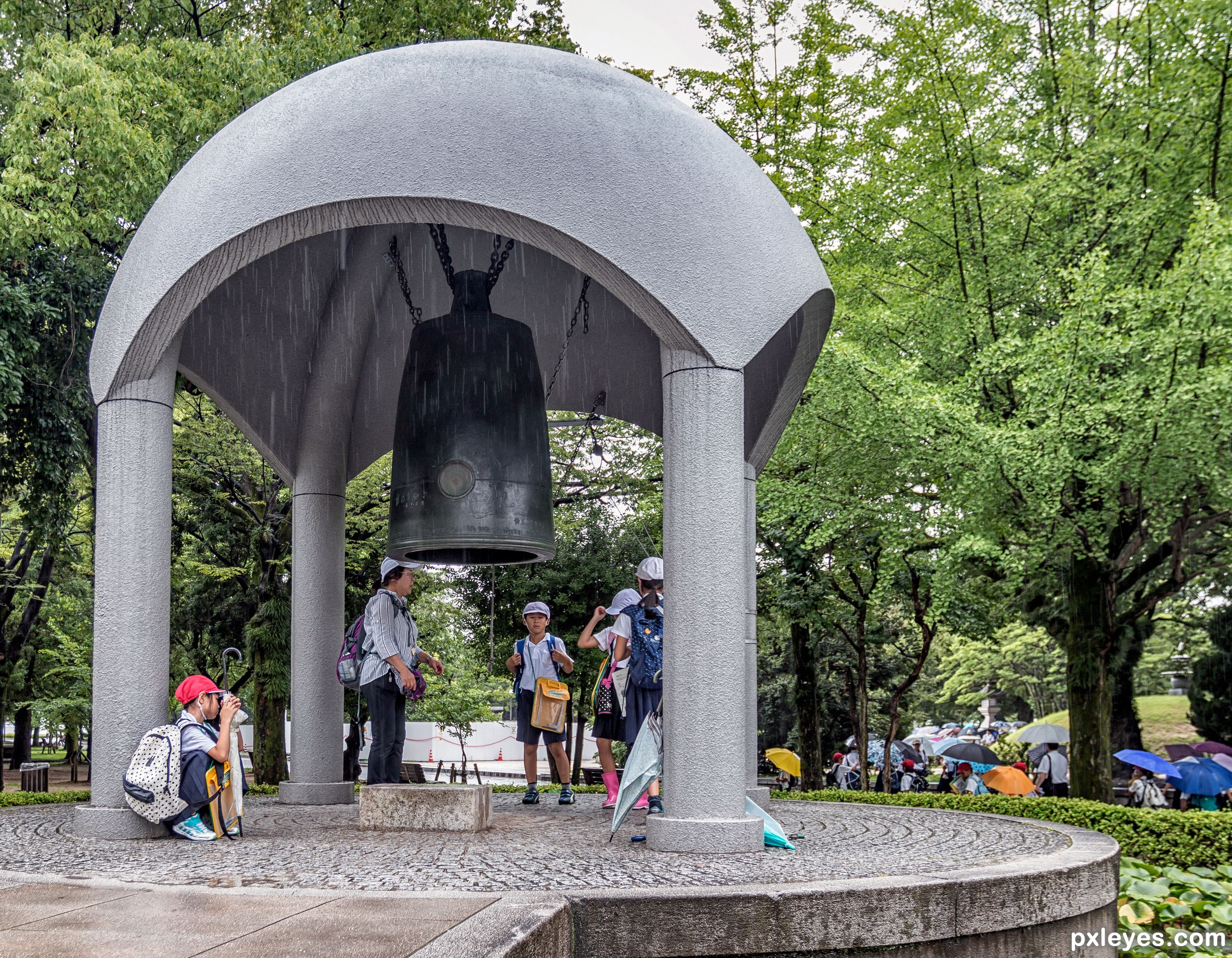 The Peace Bell, Hiroshima picture, by friiskiwi for: wet day photography cont...