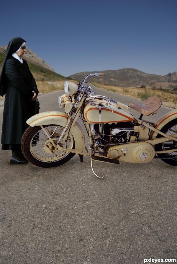 Nun with a bike