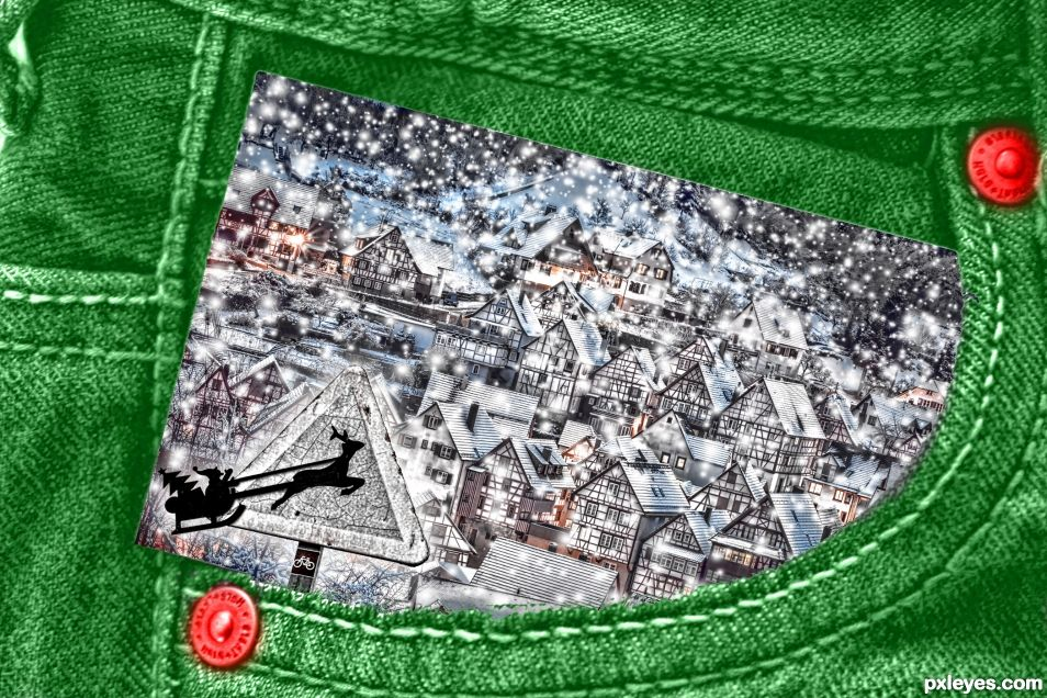 Santa Crossing in Green Jean Pocket