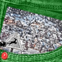 SantaCrossinginGreenJeanPocket