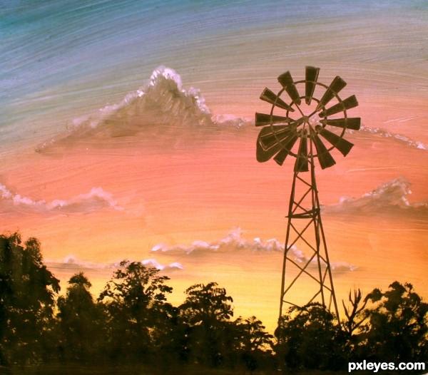 Farm Windmill at Sunrise