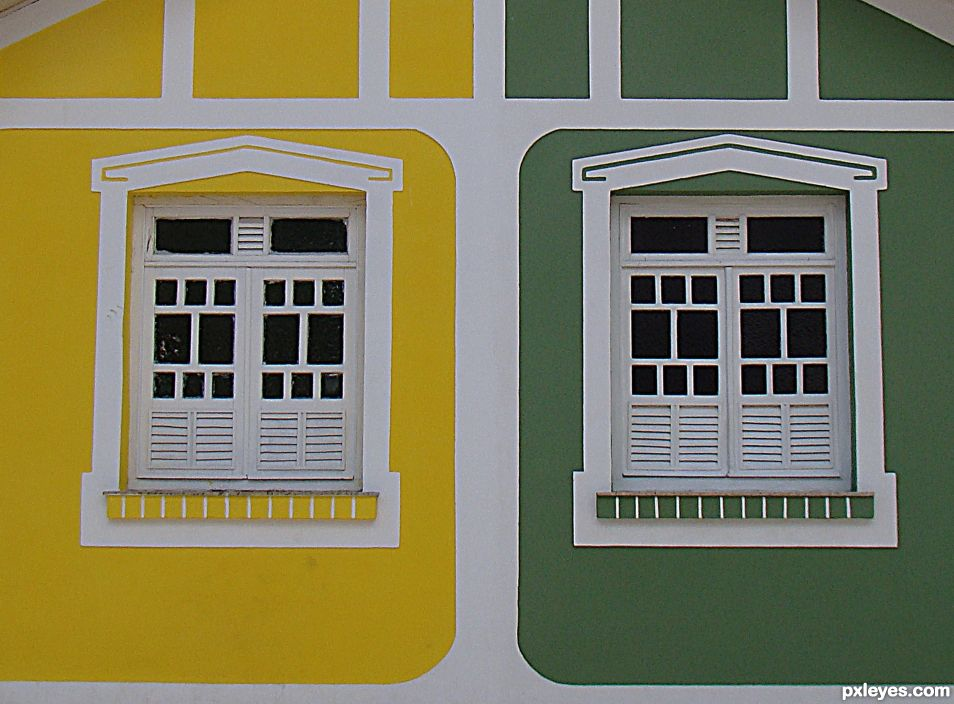 GREEN AND YELLOW WINDOWS